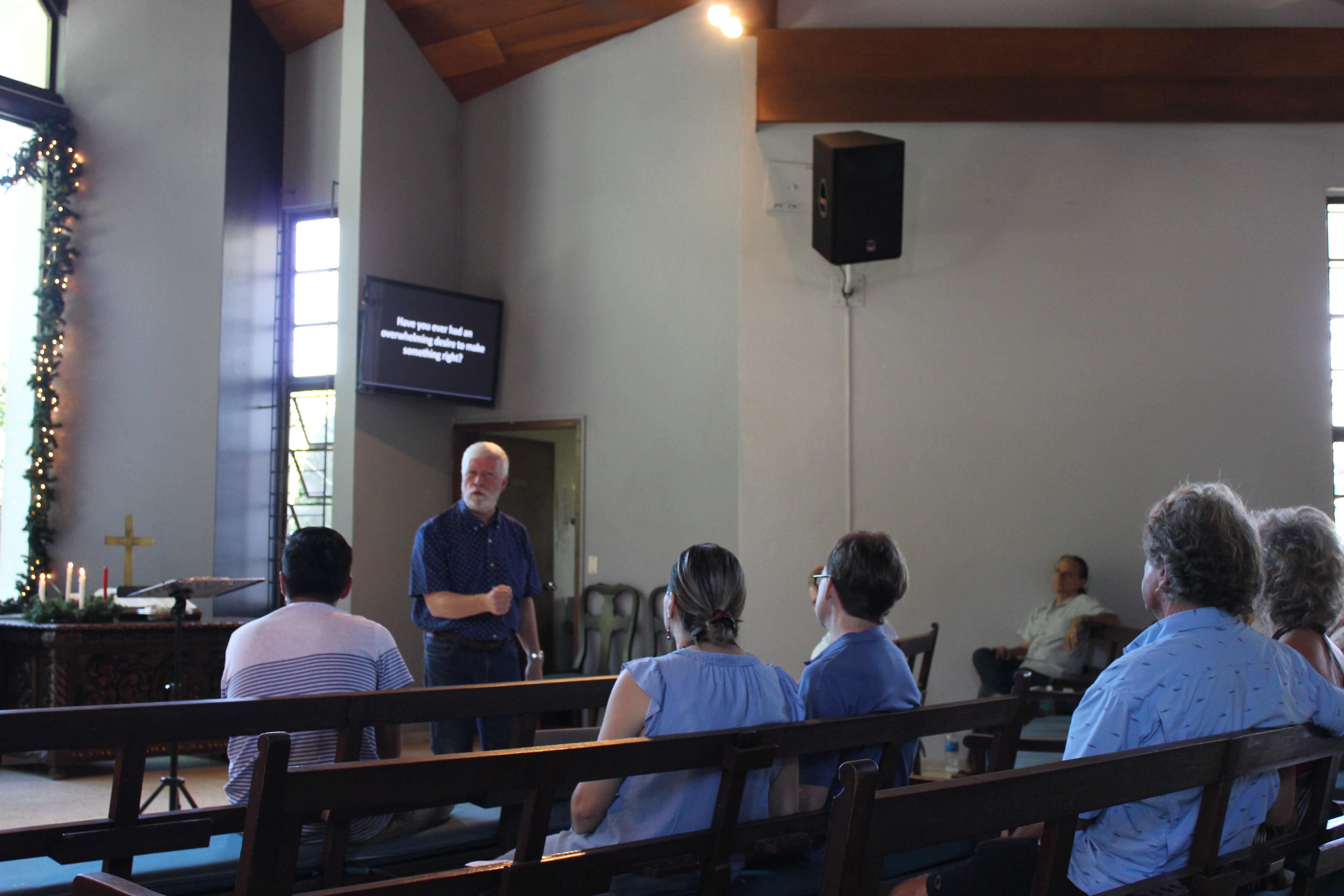 Pastor Gary preaching.